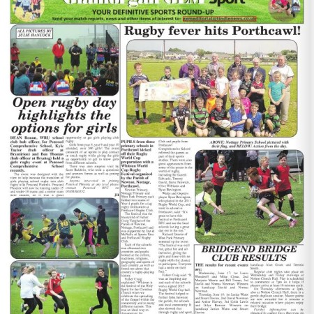 Rugby article in the Bridgend and Porthcawl Gem